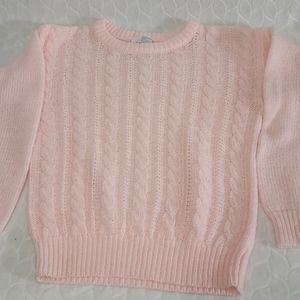 [Vintage] Alicia Pink Crew Neck Cable Knit Sweater